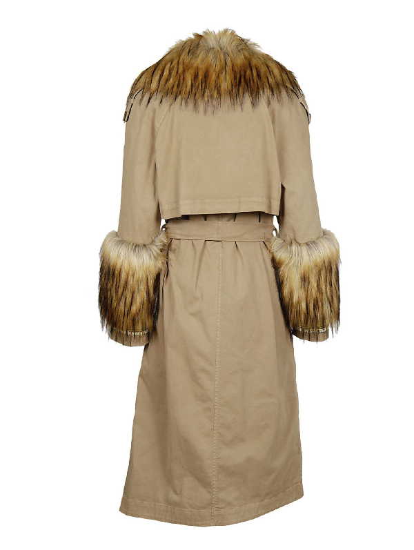 Bazar Deluxe Fur Detail Trench In Brown