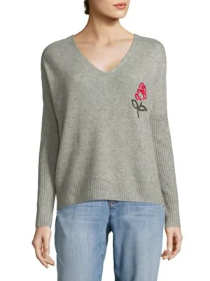 Wildfox Cashmere Heart Sweater In Heather Grey