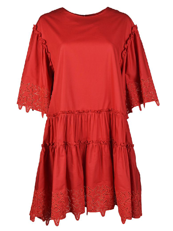 Parosh Perforated Star Dress In Red