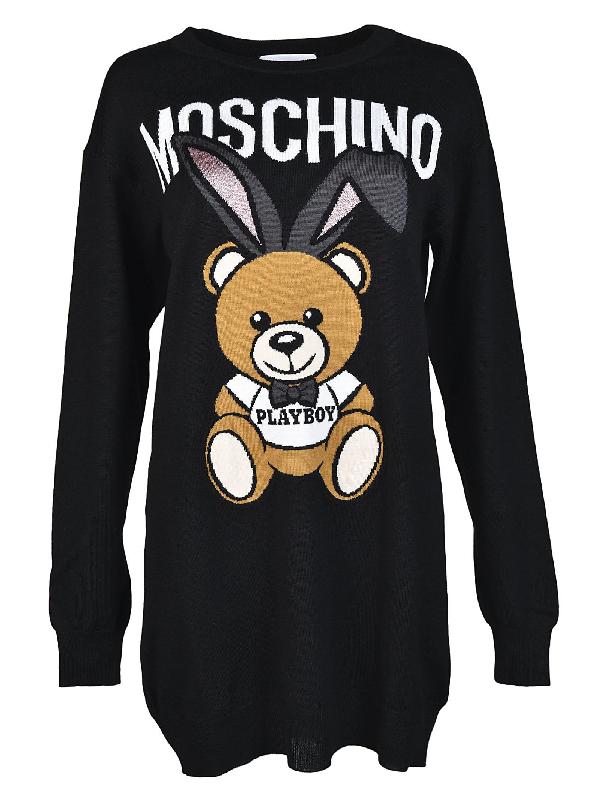 Moschino Playboy Toy Bear Sweater Dress In Black