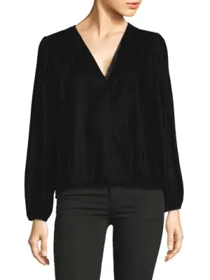 Ella Moss Velvet Long -sleeve Top In Black