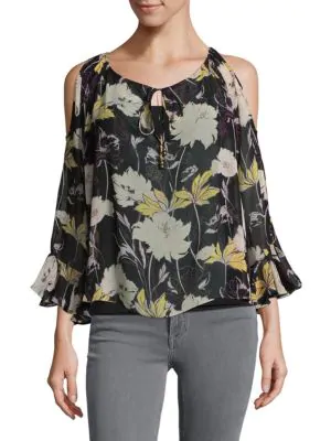 Ella Moss Floral Cold Shoulder Top In Black Multi