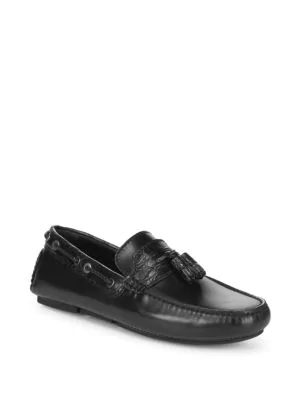 Brioni Classic Leather Moccasins In Ink