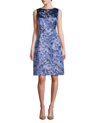 Lafayette 148 Rose Jacquard Sleeveless Verona Dress In Fresco Blue