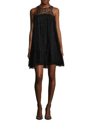 Zac Zac Posen Sheer Shift Dress In Black