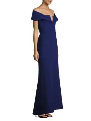 Bcbgmaxazria Amelia Off-the-shoulder Gown In Blue