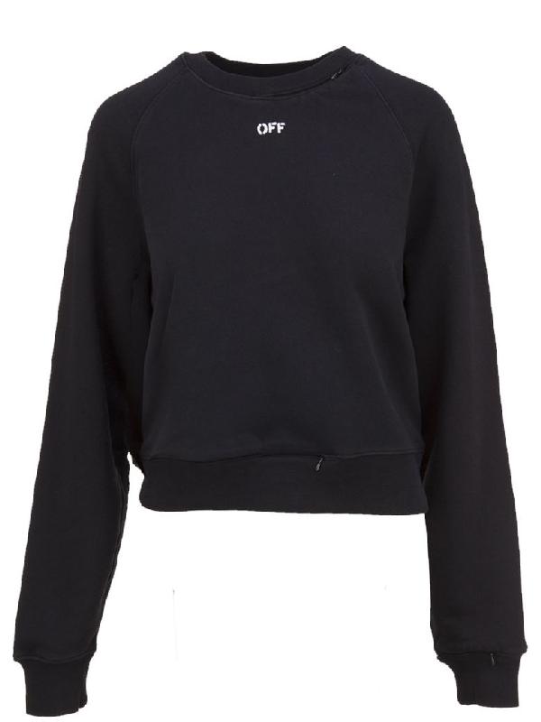 Off-white Off Decostrution Cut Out Sweatshirt In Nero Bianco