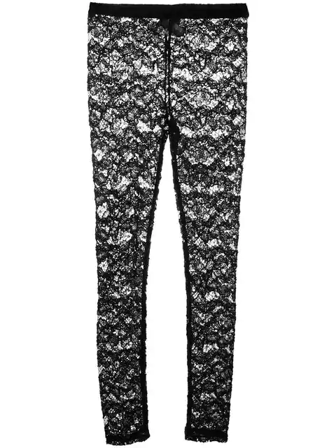 Mm6 Maison Margiela Floral Lace Leggings In Black