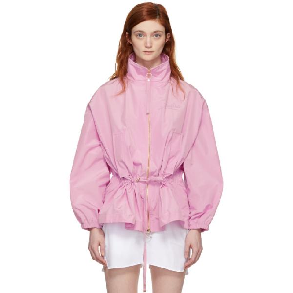 Emilio Pucci Pink Embroidered 'firenze' Windbreaker Jacket