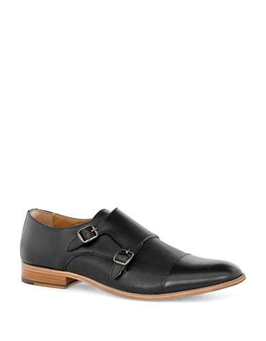Topman Baker Leather Monk Shoes-black