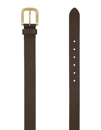Topman Slim Leather Belt With Brushed Goldtone Buckle-brown