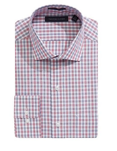 Tommy Hilfiger Regular-fit Checkered Dress Shirt-red
