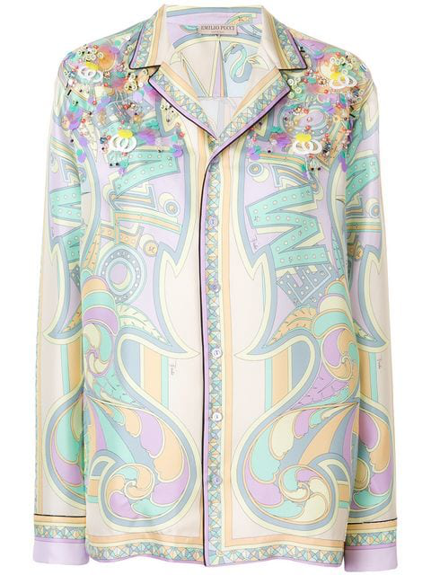 Emilio Pucci Printed Pyjama Shirt In Multicolour