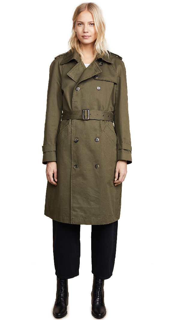 Anine Bing Military Trench Coat In Army Green