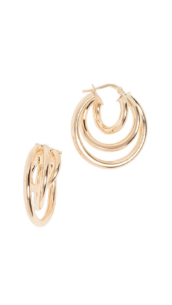 Bronzallure Triple Hoop Earrings In Gold