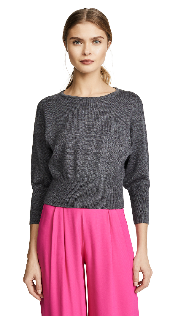 Diane Von Furstenberg 3/4 Sleeve Crew Sweater In Ash Melange