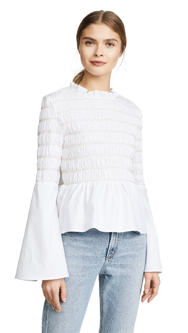 Endless Rose Smocked Poplin Top In Off White