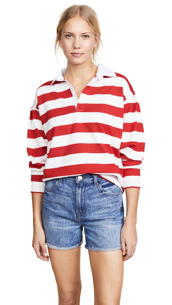 Evidnt Rugby Top In White/red Stripes