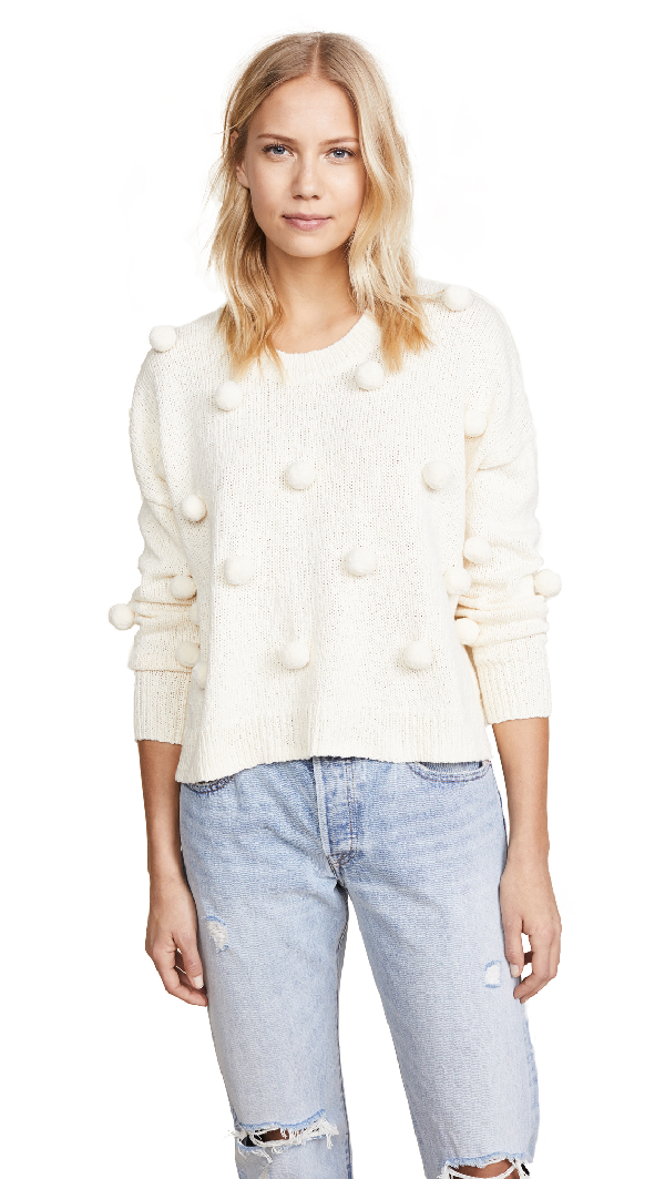 Madewell Pompom-embellished Cotton Sweater In Muslin