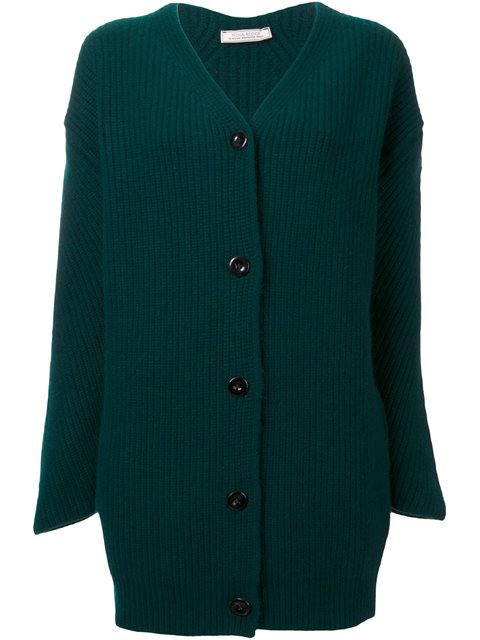 Nina Ricci Wool Cardigan With Angora In Green