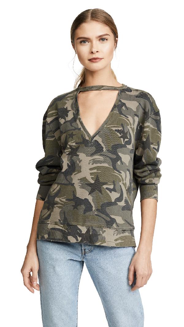 Pam & Gela Choker Sweatshirt In Camo & Star Print