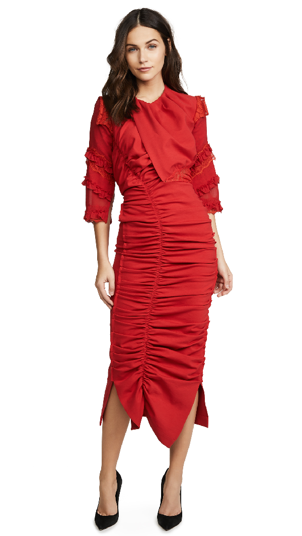 Preen By Thornton Bregazzi Ginger Ruched Dress In Red