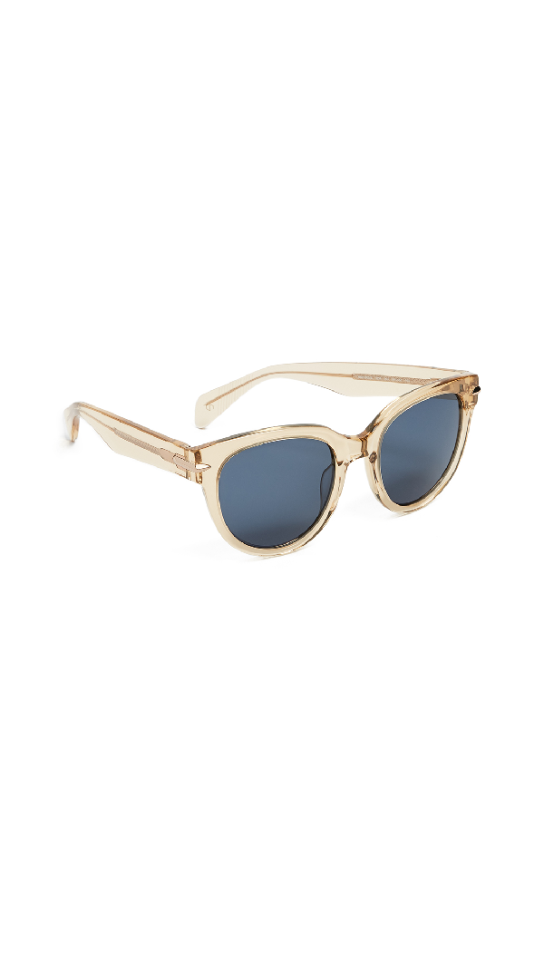 Rag & Bone Iconic Rounded Sunglasses In Crystal Yellow/blue