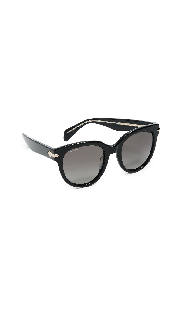 Rag & Bone Iconic Rounded Sunglasses In Black/grey
