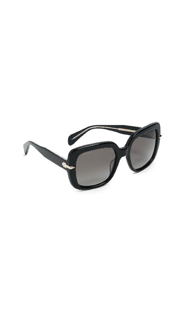 Rag & Bone Iconic Square Sunglasses In Black/grey