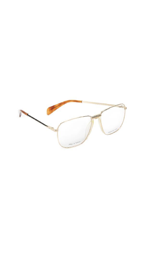 Rag & Bone Square Glasses In Gold/clear
