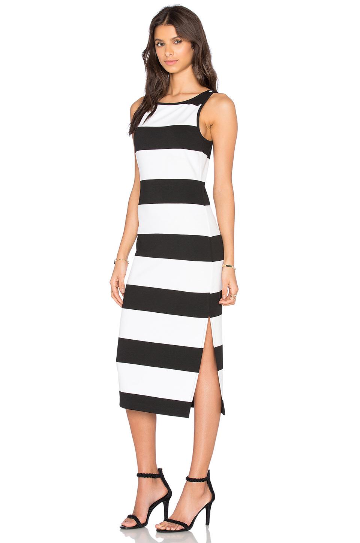 Bb Dakota Francesca Striped Ponte Midi Dress In Black & White