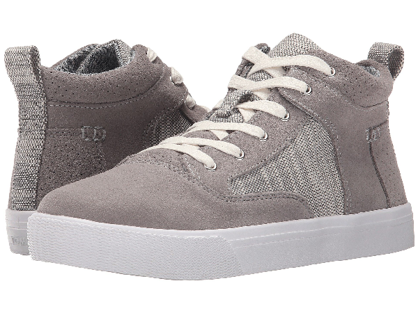 Toms Camila High Sneaker In Grey Suede Textured Woven