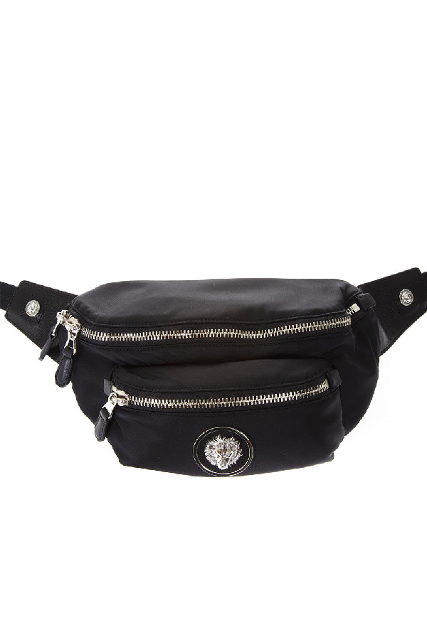 Versus Black Cotton Belt Bag With Logo