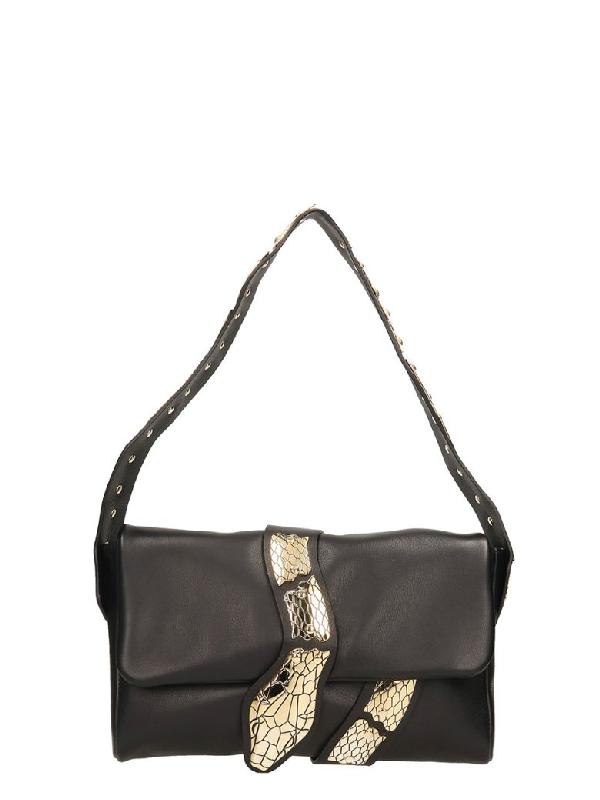 Red Valentino Snake Black Leather Bag