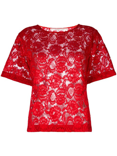Miahatami Floral Lace Top In Red