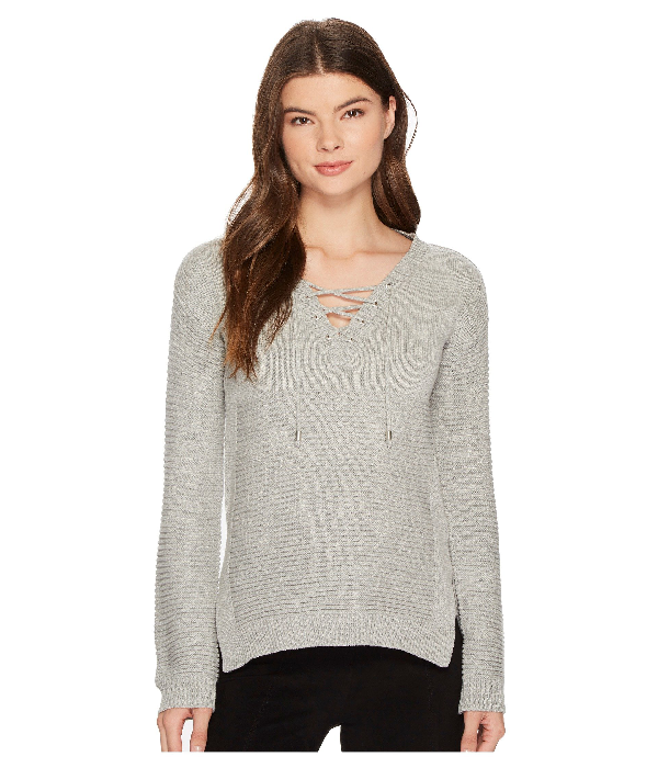 Romeo & Juliet Couture Rib Sweater With Front Tie In Light Heather Grey