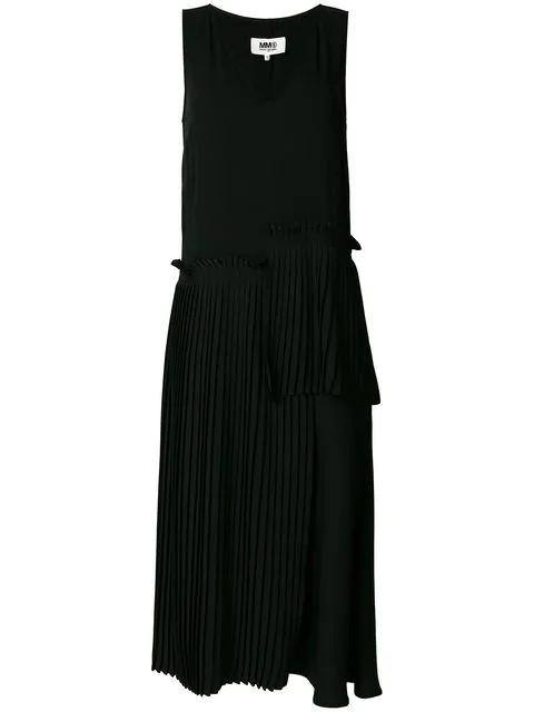 Mm6 Maison Margiela Dropped Waist Asymmetric Pleated Dress - Black