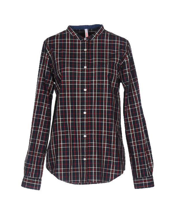 Sun 68 Checked Shirt In Dark Blue