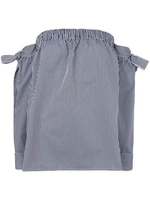 Miahatami Striped Off-shoulder Blouse In Blue