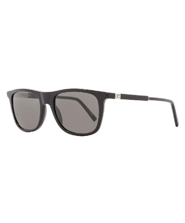 Montblanc Rectangular Sunglasses Mb647s 01d Shiny Black Polarized 647