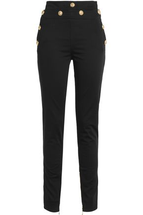 Balmain Woman Cotton-blend Skinny Pants Black