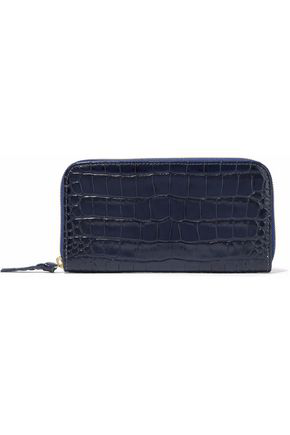 Master & Muse X Clare V. Woman Croc-effect Leather Wallet Navy