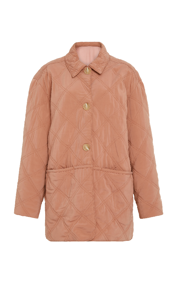 Becken Quilted Paddock Cupro Blend Jacket In Pink