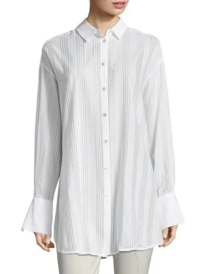 Becken Oversized Cotton Voile Button-down Shirt In White