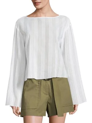 Becken Flare Bell-sleeve Striped Cotton Voile Top In White