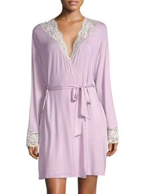 Cosabella Preta Sleep Lace-trimmed Robe In Lilac Cloud