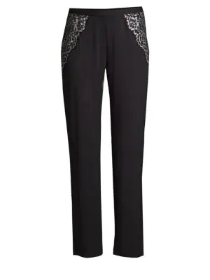 Cosabella Preta Sleep Lace-trimmed Pants In Black Stone