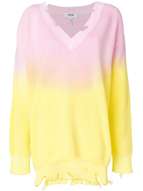 Msgm Tie-dye Destroyed Cotton Sweater In Yellow