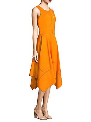 Donna Karan Poplin Crew Neck Trapeze Dress In Saffron