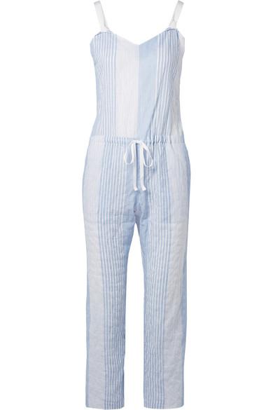 Lemlem Issa Grosgrain-trimmed Striped Cotton-blend Gauze Jumpsuit In Light Blue